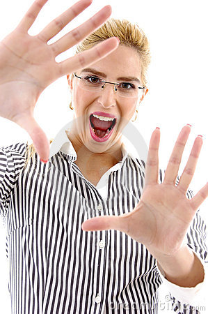 Front view of shouting businesswoman