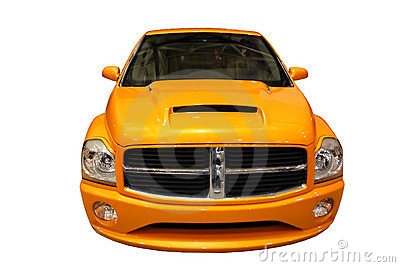 Front View Of A Sporty Dodge Ram Pickup Truck