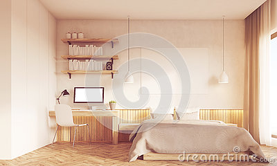front view of bedroom and home office interior desk is standing near master bed large panoramic window concept of working at home 3d rendering mock up bedroom home office view
