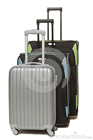 Front view of three travel suitcases