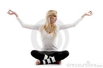 Front view of woman practicing yoga