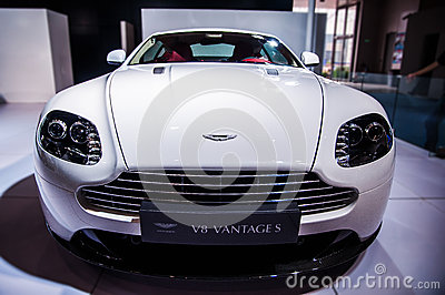 Front of white Aston Martin Editorial Image