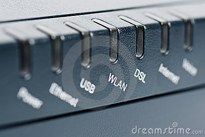 Front of wireless router with focus on WLAN