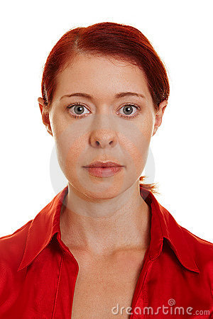 Frontal portrait of woman with red