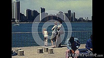 Fronteira marítima da linha do horizonte Chicago dos anos 70 video estoque