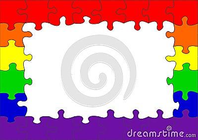 Frontera alegre del rompecabezas del indicador del arco iris