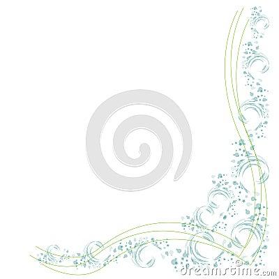 Frontera con las flores y las líneas