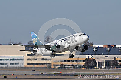 Frontier Airplane takinf off Editorial Stock Image