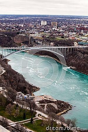 Free Frontier Border Rainbow Bridge United States And Canada, Niagara Falls. Aerial View Stock Image - 67370911