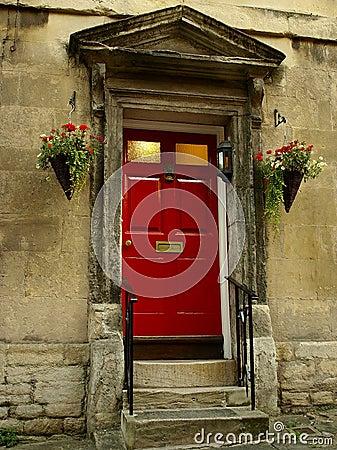 Frontowa drzwi czerwień