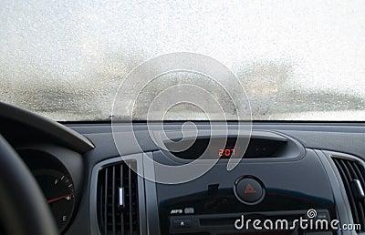 Frosen windscreen of car