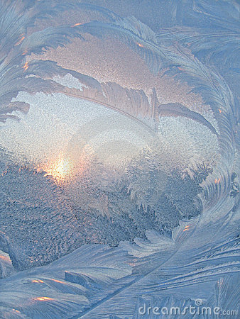 Frost and sun abstract background