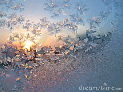 Frost and sun background
