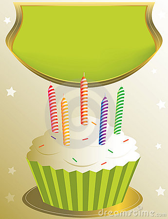 Frosted birthday cupcake with placard