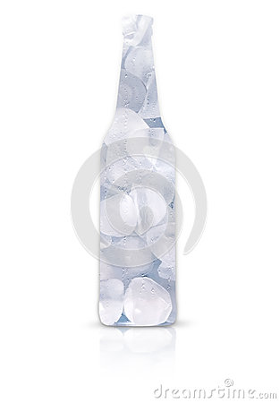 Frosty beer bottle full of ice