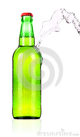 Frosty Beer bottle with water splash isolated