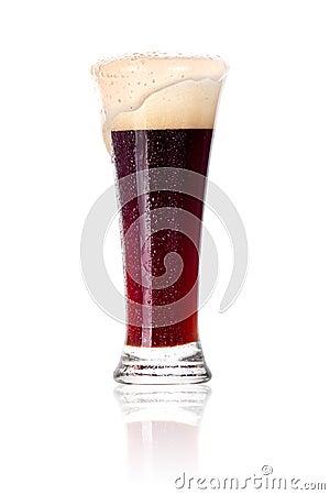 Frosty glass of dark beer