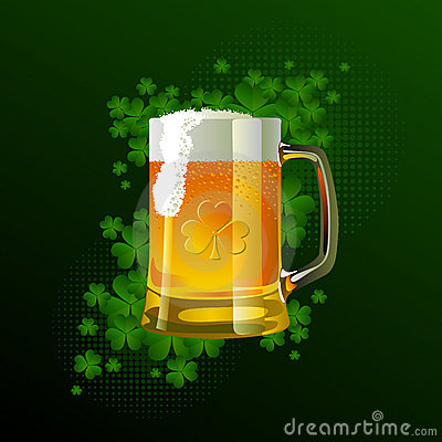 Frosty glass of light beer for St Patrick s Day
