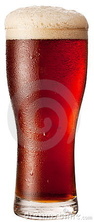 Frosty glass of red beer isolated on a white