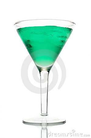 Frosty green martini with ice in a glass