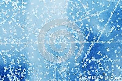 Frosty natural pattern on winter glass