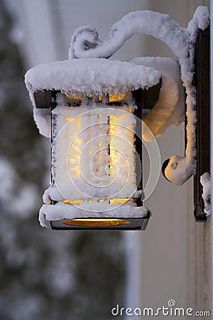 Free Frosty Porch Lantern After Fierce Winter Storm Royalty Free Stock Photo - 140429535
