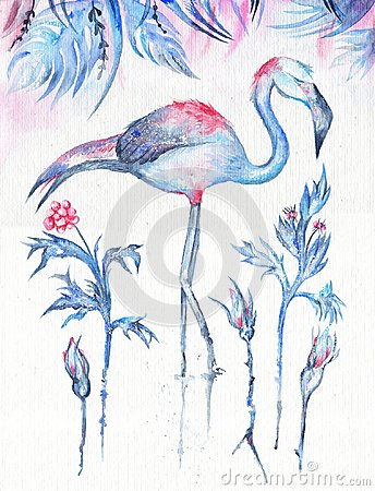 Free Frosty Tropics Watercolor Illustration Royalty Free Stock Images - 101130929