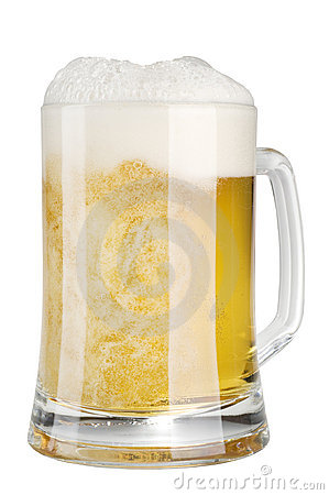 Frothy beer in glass mug