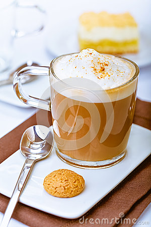 Frothy mug of aromatic cappuccino
