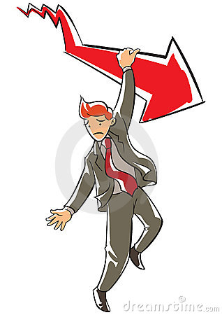Frowning executive hanging on a falling red arrow
