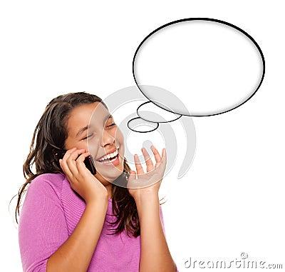 Frowning Hispanic Teen Aged Girl on Phone