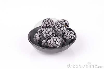 Frozen Blackberries in a Dish