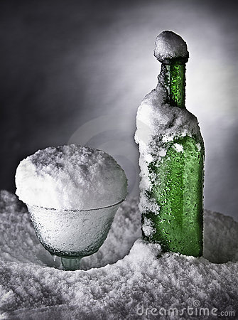 Frozen bottle ice cold drink snow winter