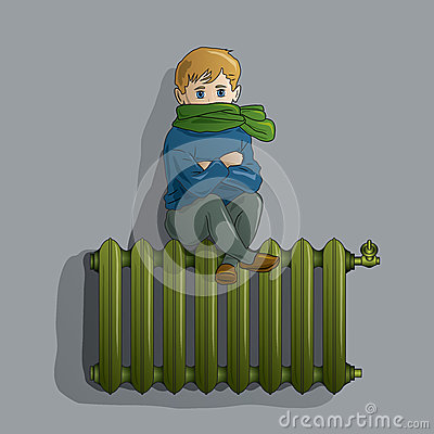 Frozen boy on an old radiator