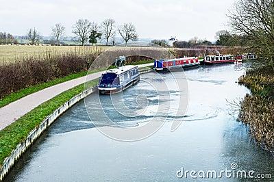Frozen canal water