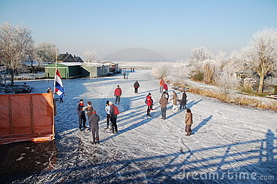 Frozen Canals in Holland. Dutch Winter Landscape Editorial Image