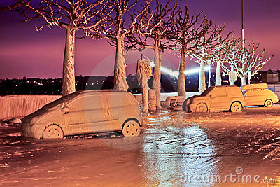 Frozen Cars Editorial Photography