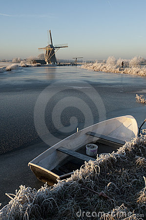 Frozen dutch river