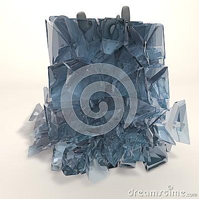 Frozen figure - breaking ice cube