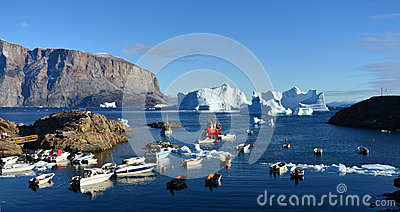 Frozen Fishing Boats Surrounded by Ice, Artic Greenland