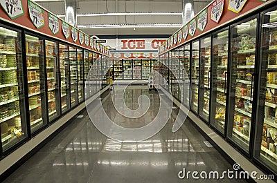 Frozen food in grocery store