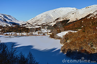 Frozen Grasmere and Dunmail Raise