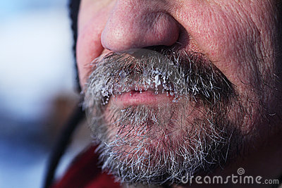 Frozen gray beard and mustache