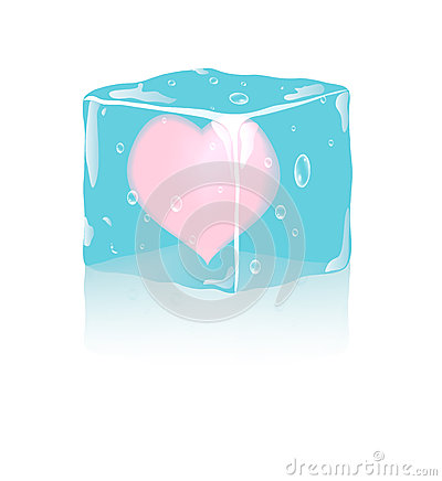 Frozen heart in ice cube