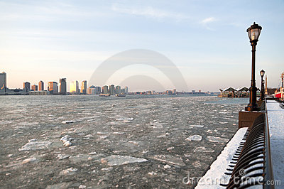 Frozen Hudson River in NYC