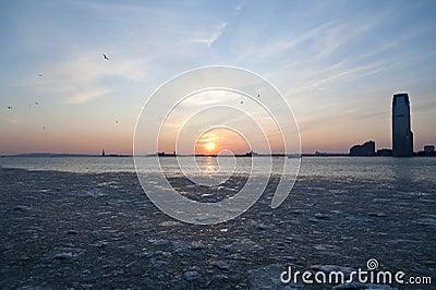 Frozen Hudson River under NYC Sunset