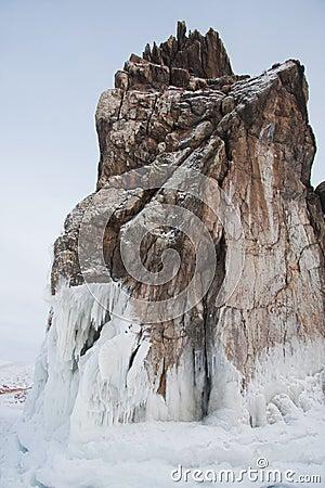 Frozen Lake Baikal. Winter.