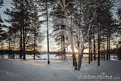 Frozen Lake in Inari, Finland