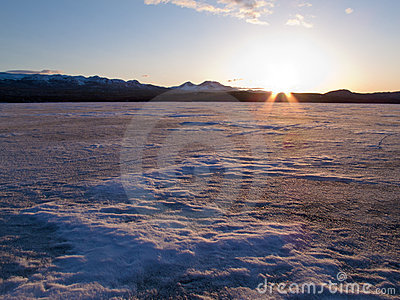 Frozen Lake Laberge, Yukon, Canada
