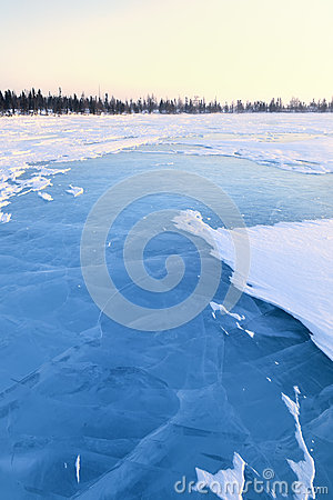 Free Frozen Lake With Boreal Forest Stock Images - 60427554